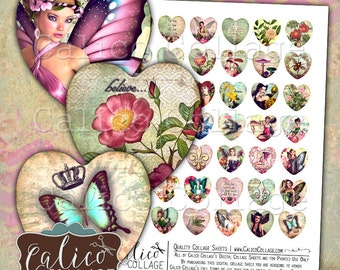 Fairy Forest, Collage Sheet, Fantasy Images, 25mm Heart, Printable Download, Heart Collage Sheet, 1 Inch Hearts, Images for Pendants