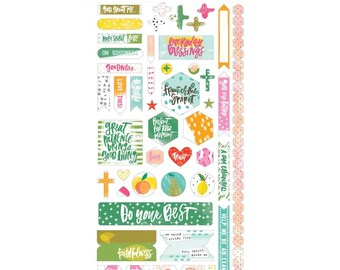 Illustrated Faith - Fruit of the Spirit - Say It Loud - 45-Piece Cardstock Stickers - Bible Journaling Stickers