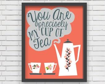 Coral Home Decor Nursery Wall Art - Coral Cup of Tea Art Print - 8x10 or 11x14