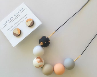 NEW Handmade Polymer Clay Beads Necklace + Hand Painted Wooden Earrings