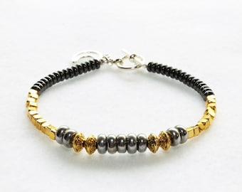 Gold, Silver and Hematite Beaded Bracelet