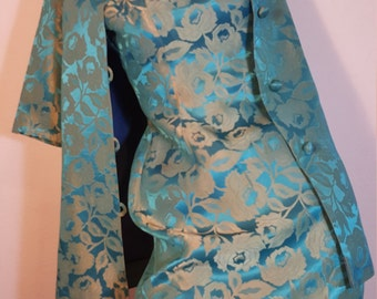 FREE  SHIPPING    vintage 1950 Brocade Dress Set