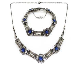 Vintage Art Deco Silver Lapis Marcasite Floral Necklace & Bracelet Set