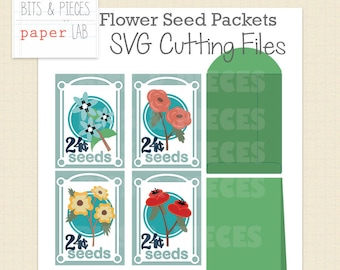 SVG Cutting Files: Flower Seed Packets, Flower SVG, Garden SVG