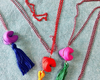 Upcycled Fortune Cookie Eraser Toy with Tassel Necklace - Cookie Jewelry - Tassel Necklace - Upcycled Toy Necklace - Fortune Cookie Charm