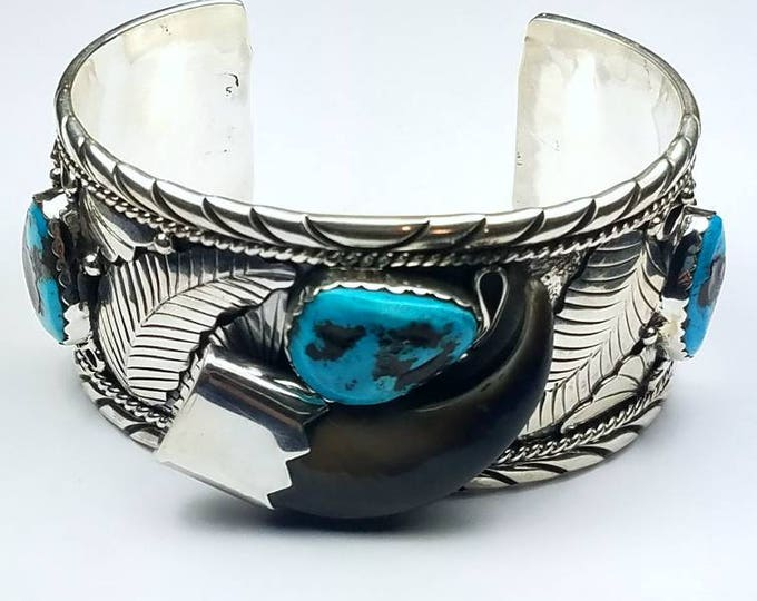 Featured listing image: Native American Navajo handmade Sterling Silver Kingman Turquoise faux bear claw cuff bracelet