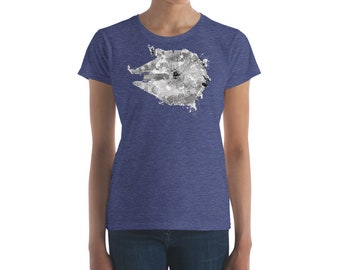 Women's Fit Millennium Falcon Star Wars Shirt (Heather Navy), Star Wars t shirt, Star Wars tee, Star Wars shirt