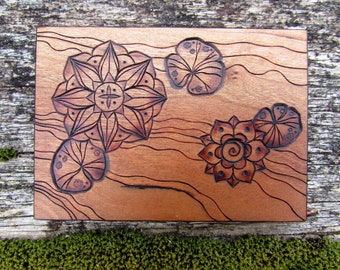 Water Lily Lotus Blossom Garden on ATC sized Cherry Wood Tile Pyrography Wood Burning