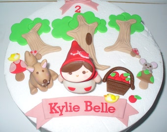 Little RED RIDING HOOD Edible Fondant Cake Topper Decorations
