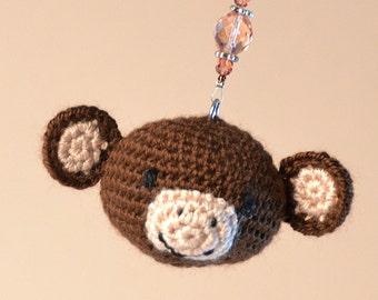 Monkey amigurumi key ring, cute handmade crochet animal, excellent gift or personal accessory, .