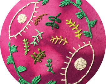 SALE Eye and Leaf Embroidery in Embroidery Hoop