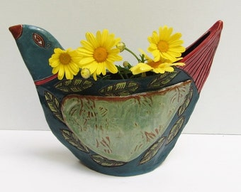 ceramic bird; ceramic bird vase; ceramics and pottery vase