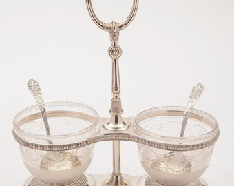 Victorian Silver Plated Cream and Sugar Set, 1870
