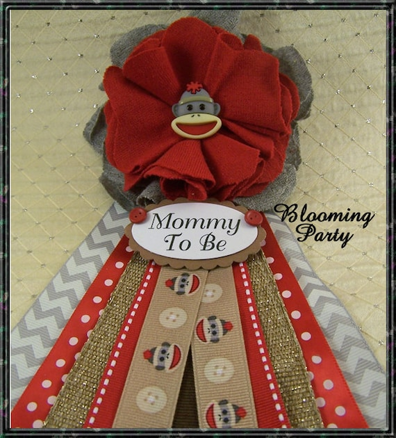 Items Similar To Sock Monkey Mommy To Be Corsage Baby
