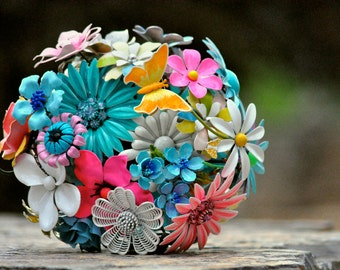 CUSTOM Vintage Wedding Bright Brooch Bouquet - to fit your style, budget & colors, OOAK, vintage bridal bouquet