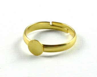 SALE 20 gold RING blanks with 6mm pad. Adjustable for ring size 7 and larger. Lead free, nickel free and cadmium free