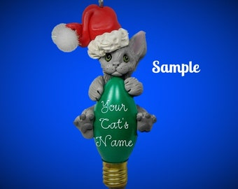 Grey Russian Blue Santa Kitty Cat Christmas Holidays Light Bulb Ornament Sally's Bits of Clay PERSONALIZED FREE with cat's name
