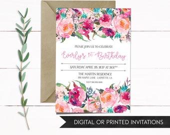 Girl Birthday Invitation, Girl Invitations, Floral Invitation, Boho Invitations Girl Invitation, 1st Birthday, 2nd Birthday, Birthday Invite