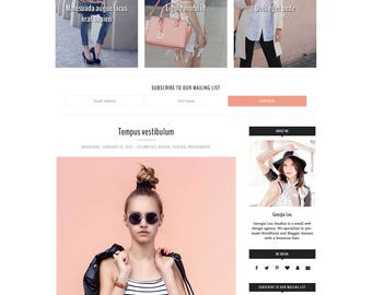 "Fashion Blogger Template - Premade Blogger Template, Responsive, Bold, Dramatic Customizable -  ""Jolie"" -  Blogger Theme Instant Download"