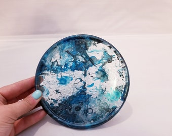 Blue Marbled Trinket Plate