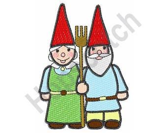 Gardening Gnomes - Machine Embroidery Design - 4 X 4 Hoop, Garden, Gardener, Elves, Fairies
