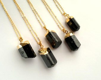 Black Tourmaline Necklace Tourmaline Pendant Black and Gold Tourmaline Jewelry Stone Necklace Mineral Necklace Semiprecious Stone Chain