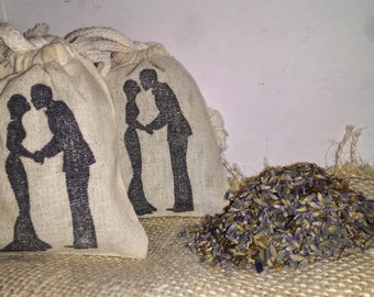Bride and Groom Silhouette Lavender Sachets   -  Set Of Three   - Organic Lavender  -  Wedding Favors  -  Baby Showers