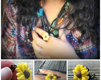 Black eyed susan ring, adjustable flower ring, wildflower jewelry, accessories