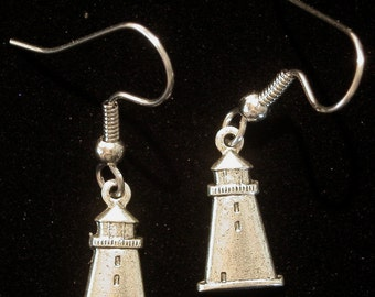 Lighthouse Light House Earrings Matte Silver Ox Small Coastal Coast Vacation Travel Gift ES097