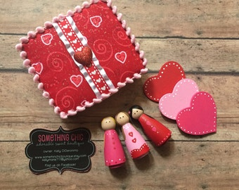 Valentine's Day Peg Doll People Kids Gift set Heart Pink Red wood