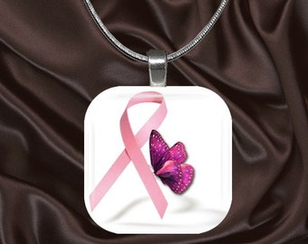 Breast Cancer Awareness Glass Tile Pendant with chain(BC5.5)