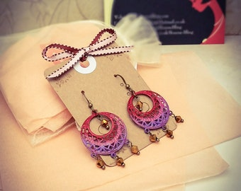 Hand Painted Red/Pink/Purple Ombre Bronze Filigree & Crystal Earrings [E59]