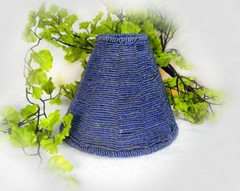 small blue lampshade -Beaded Lamp Shade, Kitsch lampshade - tea light lamp shade -candle lampshade -Boudoir lamp shade, - #122