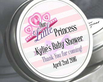 """Our Little Princess Baby Shower Mint Tins - Need a different quantity? Click on the """"choose total"""" tab to see all pricing"""