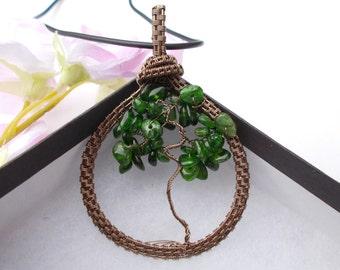Chrome diopside pendant , tree of life pendant , wire pendant , wire jewelry , tree of life , wire wrapped pendant , chrome diopside
