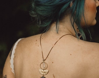Aphrodite Reversible Necklace with Labradorite, Quartz Crystals, and Brass Crescents / Bridal Line
