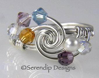 Grandmothers Ring Mothers Ring, Seven Birthstone Argentium Sterling Silver Ring, 7 Swarovski Birthstone Crystals mr7-4