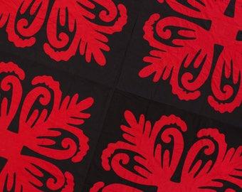 Black & Red Hawaiian Design - QUILT TOP - Queen, Masculine Must See Design
