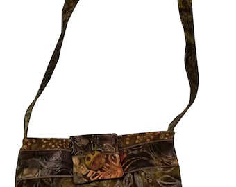 Brown Batik Purse with Adjustable Straps