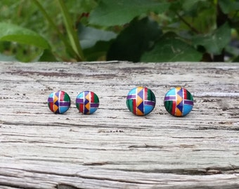 Multi Inlay Button/Dot Stud Earrings (Zuni Fetish style), with Sterling silver posts (Available in 2 sizes)