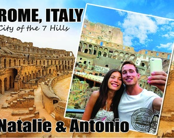 """NEW!! Personalized Rome Travel Wood Photo Print 5"""" x 7"""" Template."""