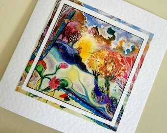 Blank card Inside Out from original painting by Bee Skelton for any occasion birthday gift anniversary thank you