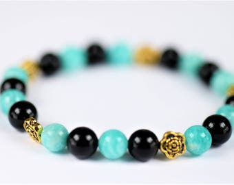 Amazonite and Black Agate 100% Natural Stone Healing Stretch Bracelet ~ STRESS RELIEF