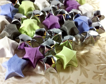 40 Origami Stars - Easter Spring Colors Origami Lucky Star Mix - Matte Colors and Silver Metallic Origami Stars - Confetti, Paper Decor