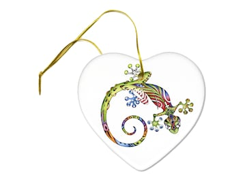 Artist Original Gecko Lizard Art Print on a Ceramic Hanging Heart Ornament