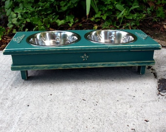 Deep Green Cottage Chic Elevated Dog Bowl Pet Feeder, Dog Bowl, 2 Two Quart Stainless Bowls, Medium Size Dogs and Cats - Made To Order