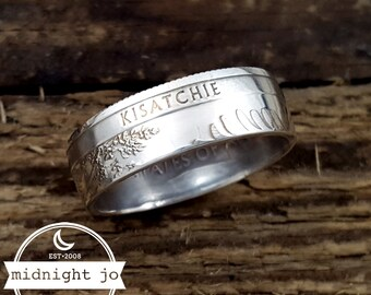 Silver Kisatchie Quarter Ring - 90% Silver National Park Quarter Rings - Silver Coin Rings - National Park Coin Ring - Silver Wedding Rings