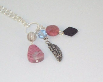 Gemstone and Pewter Feather Lariat Necklace