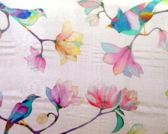 Handpainted shawl Gift for mom Square scarf Flower birds scarves Bird painting Hand painted silk Batik Wedding shawl Womens birthday gift