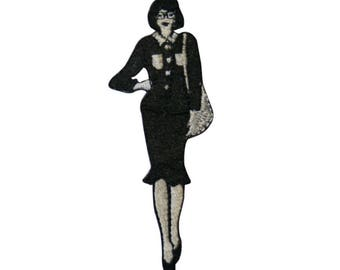 ID 3427B Black and White Fashion Lady Patch Noir Embroidered Iron On Applique